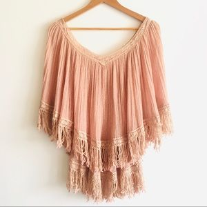 Mexican Blouse Fringe Gauze Top Poncho